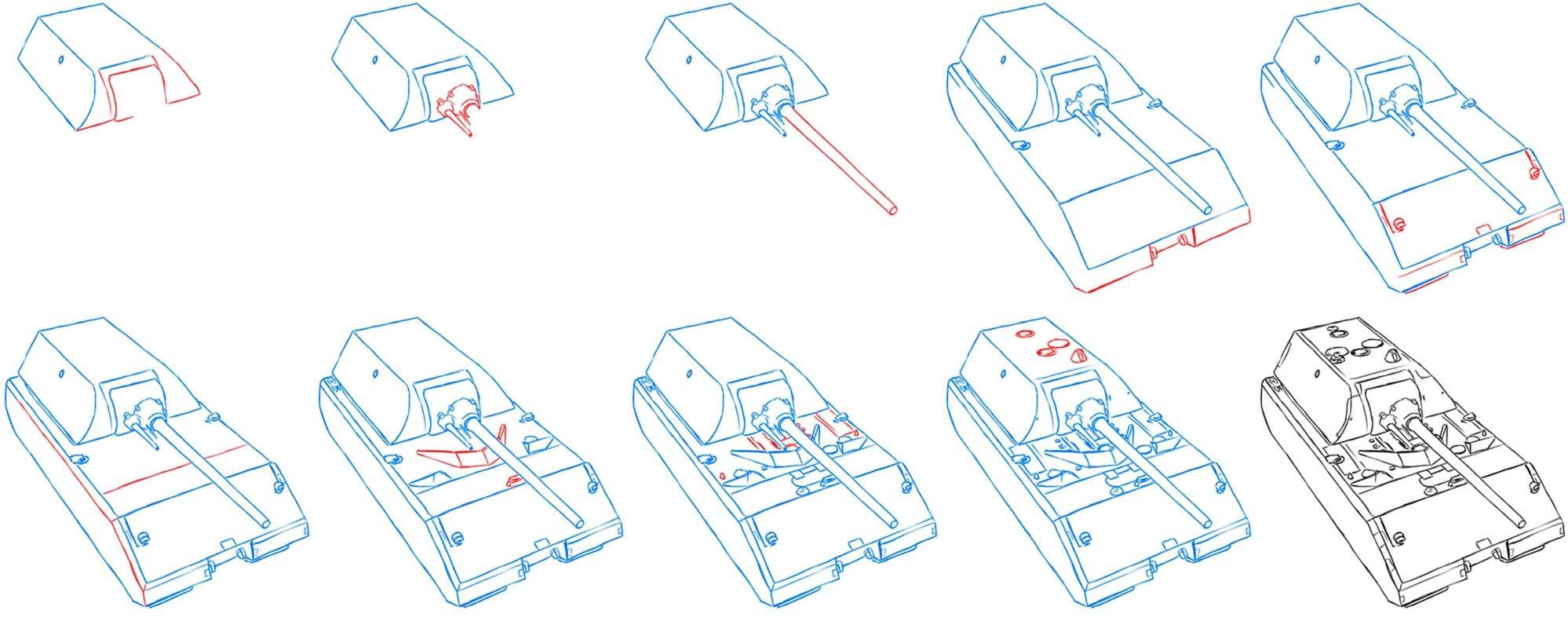 Как нарисовать немецкий танк Маус?
